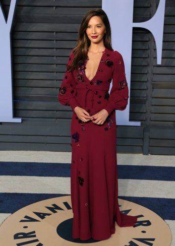 Olivia Munn - This was the Vanity Fair After Party, but it is just the nicest dress. So elegant and very on trend with the floral and Burgundy.